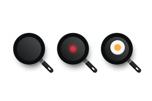 Drei realistische pfannen. prozess des kochens von spiegeleiern. kalte und heiße pfanne.