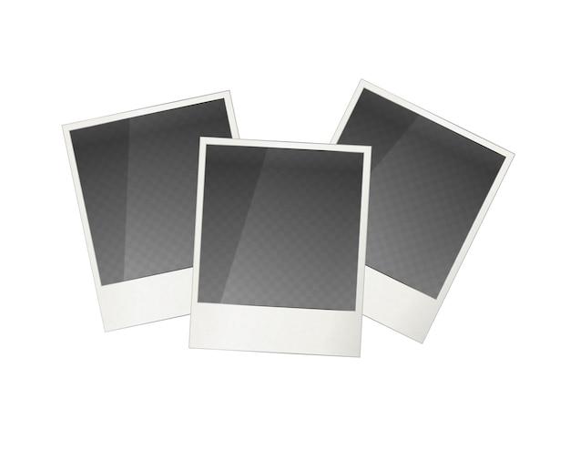 Drei realistische polaroid fotorahmen