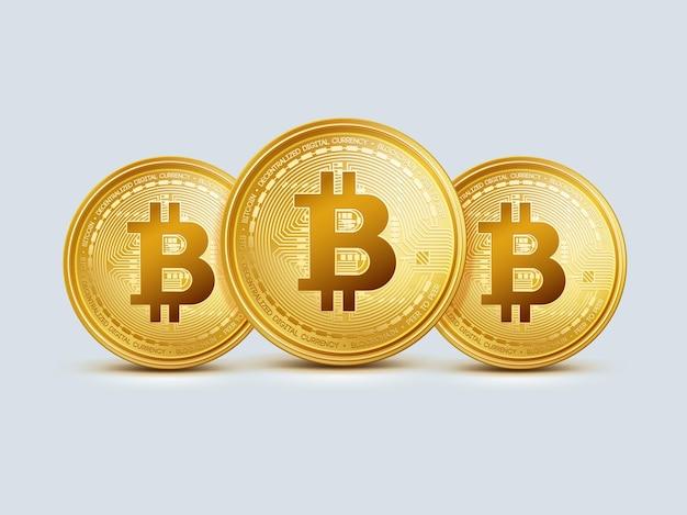 Drei realistische virtuelle goldene bitcoin-münzen