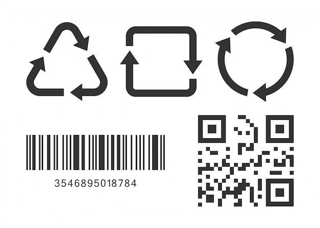Drei recycling-symbole mit barcode und qr-code auf weißem hintergrund