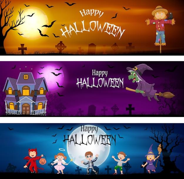 Drei reihe von halloween-banner