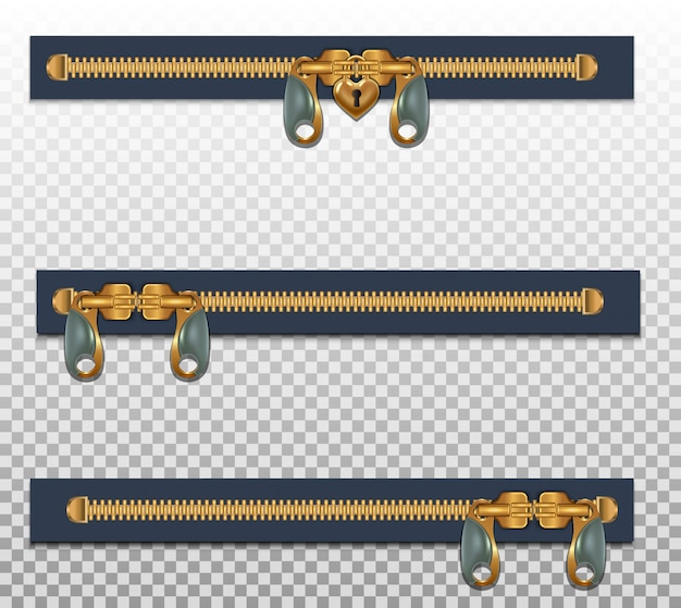 Drei reißverschlüsse für kleidung in zwei verschlüssen geschlossen. goldfarbe isoliert auf einem transparenten