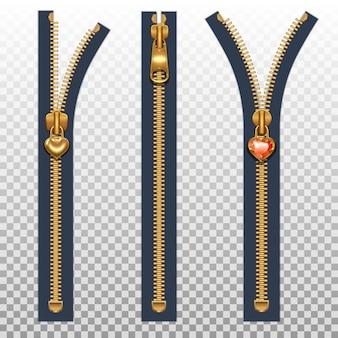 Drei reißverschlüsse für offene und geschlossene kleidung. goldfarbe lokalisiert auf einem transparenten hintergrund.