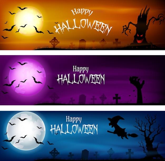 Drei sätze halloween-banner