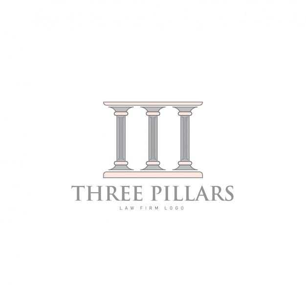 Drei säulen mit griechisch-römischem säulen-logo für anwaltskanzlei und justice company