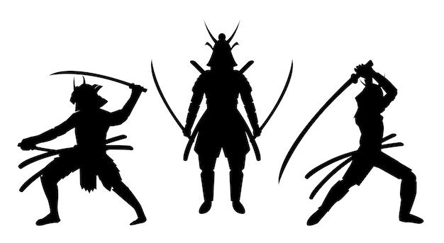 Drei samurai-haltung silhouettieren einen weißen hintergrund