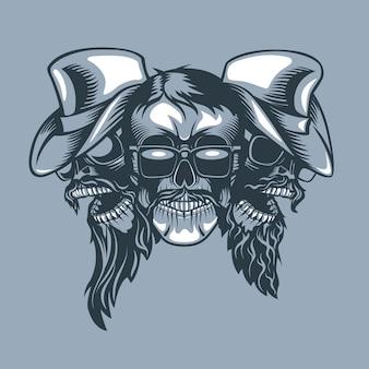 Drei schädel bearded band