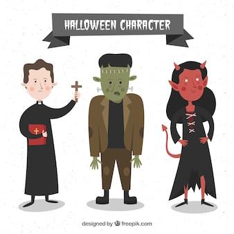 Drei schöne handgezeichnete halloween-figuren
