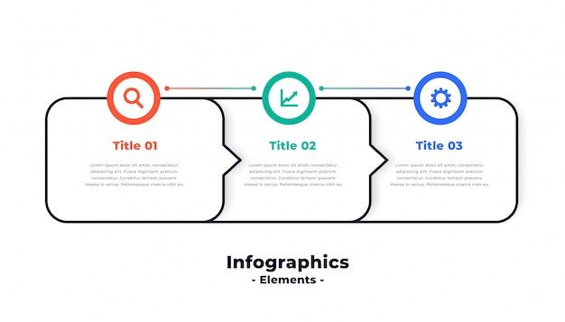 Drei schritte modernes direktionales infografik-schablonendesign