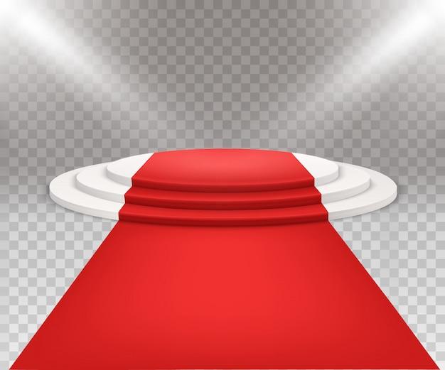 Drei schritte rundes weißes podium