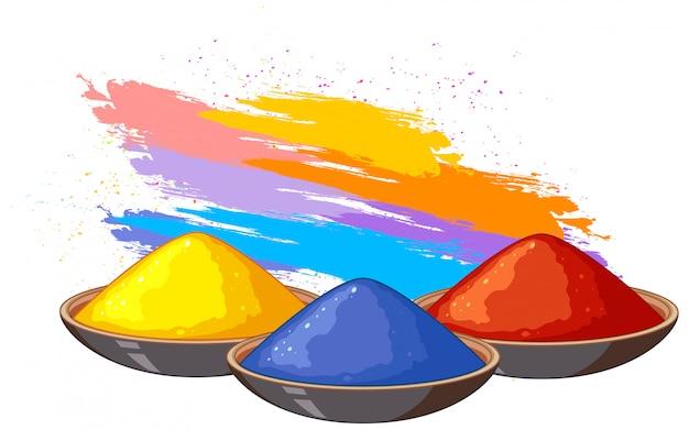 Drei schüsseln fo-farbenpuder mit buntem