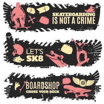 Drei skateboarding banner set mit beschreibungen von skateboarding ist kein verbrechen lassen sie uns sk8 und boardshop wählen sie ihre deck vektor-illustration