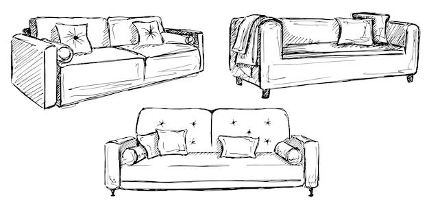 Drei sofas lokalisiert auf weißem raum. vektorillustration in einem skizzenstil.