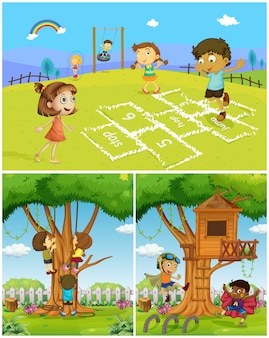 Drei szenen mit kindern spielen im park
