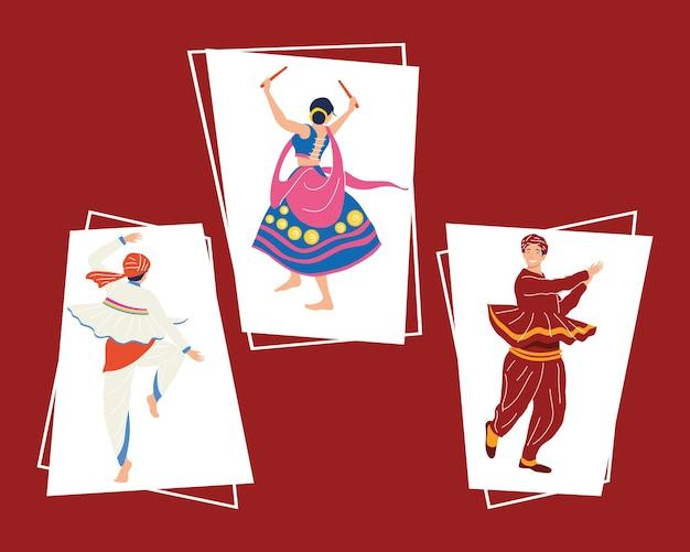 Drei tänzer der navratri-zeremonie