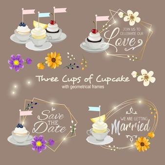 Drei tassen cupcake