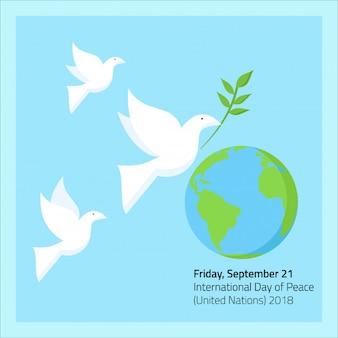 Drei tauben fliegen in friedenstag am 21. september