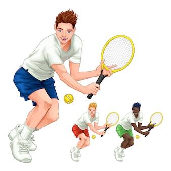 Drei tennisspieler mit unterschiedlichen haar-, haut- und kleiderfarben