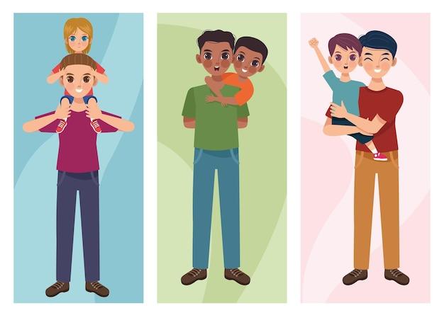 Drei väter und kinder