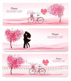 Drei valentinstag banner mit rosa bäumen und herzen.