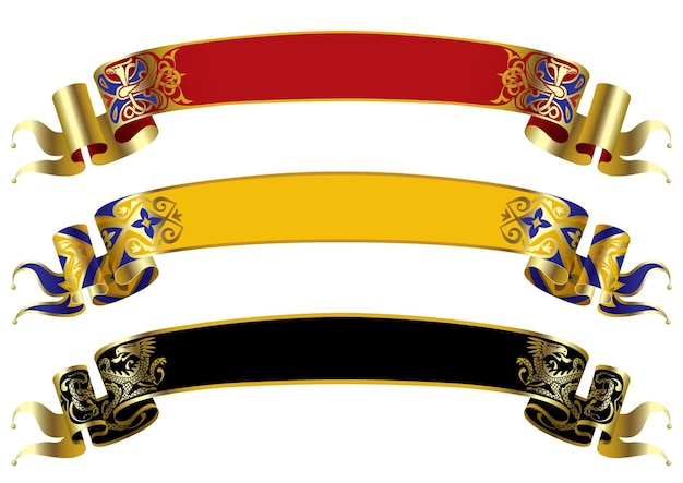 Drei vektor mittelalterliche banner.