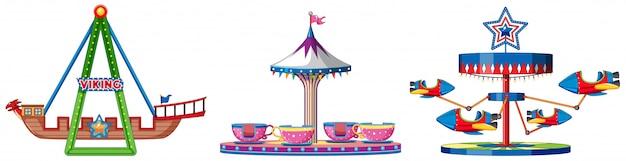 Drei verschiedene fahrten auf der fun fair
