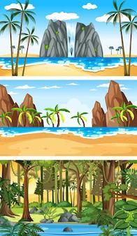 Drei verschiedene horizontale naturszenen