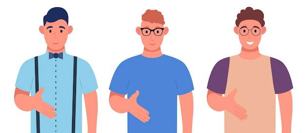 Drei verschiedene junge männer, die handshake-pose geben und mit willkommener geste lächeln. zeichensatz. vektor-illustration.