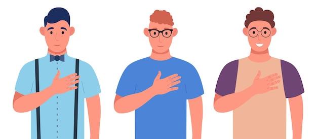 Drei verschiedene junge männer drücken ihr positives gefühl gegenüber menschen aus, halten die hände auf brust oder herz. zeichensatz. vektor-illustration.