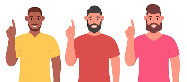 Drei verschiedene männer, die beim stehen und lächeln auf den finger zeigen. konzept einer großartigen idee. vektorillustration im cartoon-stil.