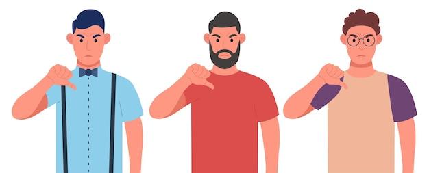 Drei verschiedene wütende männer, die daumen nach unten zeigen, zeichengeste. abneigung, negative emotionen gesicht ausdruck konzept. zeichensatz. vektor-illustration.