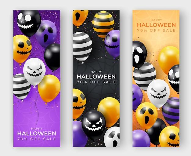 Drei vertikale halloween-vektorfahnen mit geisterballons. gruselige gruselige gesichter auf ballons. dekorationselement für halloween feier
