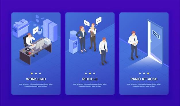 Drei vertikale problemsituationen bei der arbeit isometrische banner-set mit arbeitsbelastungslächerlichkeit und panikattacken-schlagzeilen