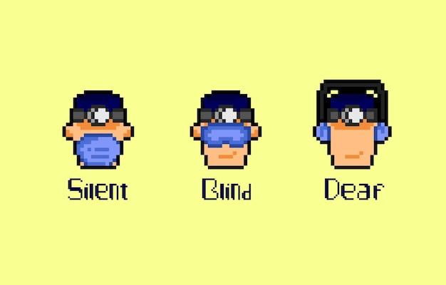 Drei weise arzt mit pixel art style