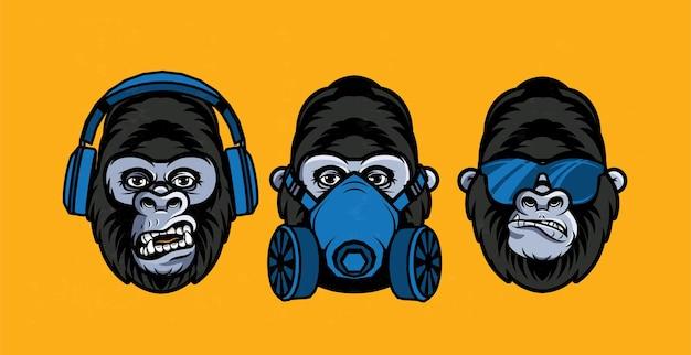 Drei weise gorillas mit atemschutzmaske, brille, kopfhörer. auch die drei mystischen affen genannt. sieht nichts böses, hört nichts böses, spricht nichts böses.