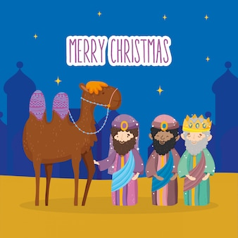 Drei weise könige und kamelkrippe krippe, frohe weihnachten