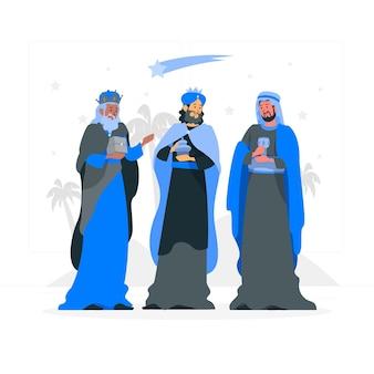 Drei weise männer konzeptillustration