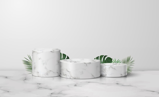 Drei weiße marmor zylinder podium