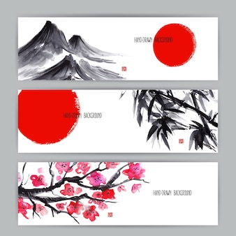 Drei wunderschöne banner mit japanischen naturmotiven. sumi-e. handgezeichnete illustration