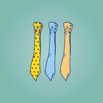 Drei zeichnung krawatten illustration auf mint green background