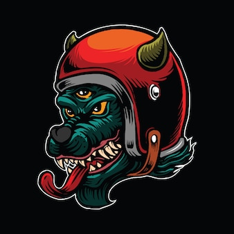 Dreiäugiger wolf der hölle trägt einen helm
