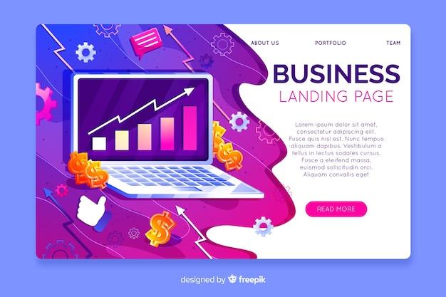 Dreidimensionale business-landing-page-vorlage