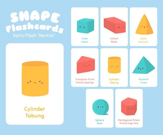 Dreidimensionale form karteikarten für kinder gesetzt