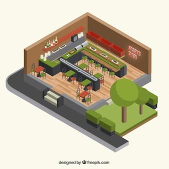 Dreidimensionale innen sushi bar
