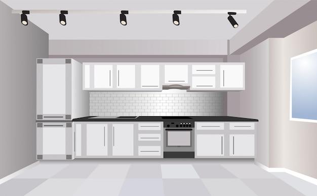 Dreidimensionale moderne weiße küche mit kühlschrank, herd und großem raum