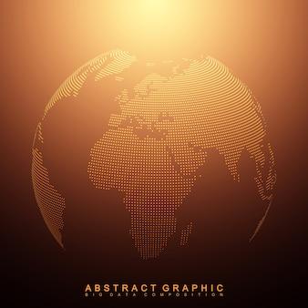 Dreidimensionaler abstrakter hintergrundplanet. gepunktete weltkugel
