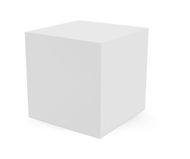 Dreidimensionaler würfel lokalisiert auf weißem hintergrund