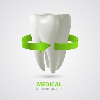 Dreidimensionaler zahn mit pfeil