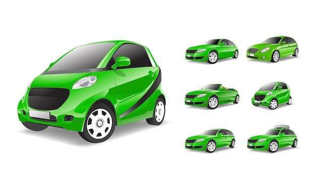 Dreidimensionales bild des grünen autos getrennt auf weißem hintergrund