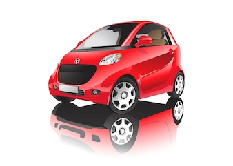 Dreidimensionales Bild des roten Autos getrennt auf weißem Hintergrund